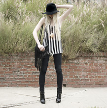 Marie Hamm - Brandy Melville Usa Stripe Tank, Vanessa Bruno Leather Fringe Bag, Helmut Lang Denim - In Contrast.