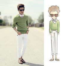 Jeremy Cunanan - Self Made White Bow Tie, Undefined Classic Tortoise Wayfarer, Pink And White Bufalo Plaid Button Down Shirt, Abercrombie Green V Neck Sweater, Hot Topic White Skinny Jeans, Brown Loafers - You amazed me, even though your crazy
