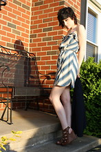 Cassie O'Neal - Guess? Lace Up Wedges, Kimchi Blue Striped Dress - Every word we've left unspoken.