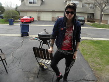 Johnny Cook dooley - Black Leather Boots, American Eagle Jean Jacket, Gray Hoodie, Custom Red Tank Top, Black And White Scarf, H&M Black Tight Pants, Usa Flag - Grillin
