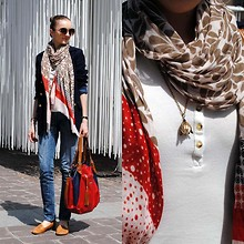 Ryfka (Szafa Sztywniary) - Madam Lili Designs Necklace, Oysho Top, Reserved Sunglasses, Dots Scarf, Kaunotar Finn Fashion Blazer, Levi's® Jeans, De Mehlem Leather Bag, Casas Mocassins - My uniform