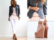 Stassia Pliuta - Alexander Mcqueen Gray Blazer, Alessandro Dell'acqua Shoes - Basic colors