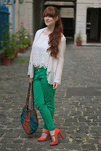 Oceane B. - H&M Blazer, Zara Green Pants, Asos Shoes, H&M Top - Colorful