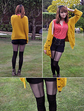 Yinyin W - Urban Outfitters Mustard Cardigan, Topshop Coral Top, Topshop Tights, River Island Lace Up Boots, Miss Selfridge High Waisted Shorts - Mustard Corals