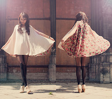 Jae D - Floral Cape Top, Heart And Key Bird Necklace, Tights - - none of it matters, but it does...