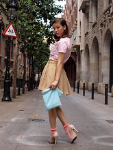 Adela S. - Of My Own Design Pink Polka Dot T Shirt, Zara Camel Skirt, Aquamarine Clutch Of My Own Design, Zara Pink High Heels - Songs of yesterday