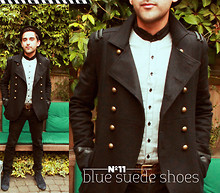 Nikhil Sharma - Topman Penny Round Collar Shirt, River Island Military Jacket, Swear London Blue Suede Shows, Topman Jeans - Buttoned frontline
