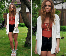 Lisa Olsson - Acne Studios Shoes, American Apparel Shorts, H&M Jacket, H&M Swimsuit - Terracotta/swimsuit