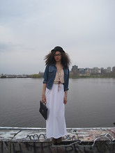 Chacha M - Talula Bowler Hat, D Tox Nerd Glasses, Gap Jean Jacket, Divided Cropped Top, New York City Maxi Dress As A Skirt, Value Village Vintage Purse, H&M Leopard Booties, Handmade Dream Catcher And Neclace At Ardenes Necklace - May 15th . 2011( wasnt ready for the picture :) oh oh)