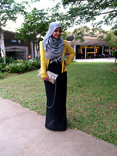 Aishah Amin. - Elle Yellow Sweater Jacket, Printed Top, Clutch Bag, Skirt - The Bird and The Bee.