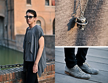 Marco M. - All Saints The End Necklace, Ask The Missus Grey Brogues, Ray Ban Black Wayfarer, Topman Grey T Shirt, Cheap Monday Black Very Stretch Skinny Jeans - Golden Hour