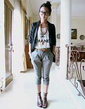 Adelle Veronica - Black Blazer, Chanel Fake Top, Kings, Bandung Grey Pants, The Little Things She Needs Maroon Gladiator - Lazy day, lazy song