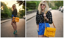 Taylor Sterling - Undefined Polka Dot Top, Cambridge Satchel Yellow, Undefined Blue Shorts, Aldo Teal Heels - Sunset Shorts