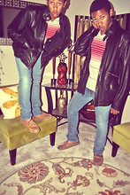 Joseph SB - Undefined Black Leather Jacket, Levi's® Blue 510 Levi Jeans, Dsw Brown Moccasins, Bdg Striped Vneck - Janglin'
