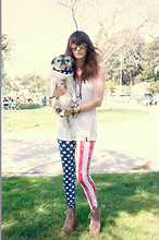 Wild At Heart - American Flag Pants, Jeffrey Campbell Litas, Army Navy Store Mirror Shades - American Girl.