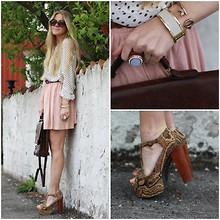 Anna Wiklund - H&M Powder Pink Skirt, Second Hand Vintage Bag, Disney Couture Key Cuff, Jeffrey Campbell Foxy, Kappahl Dotted Blouse, Tokyo Jane Suede Bracelet - YOU'LL FIND ME SOMEWHERE NEARBY...