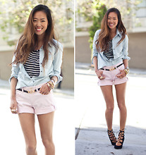 Aimee Song - Banana Republic Denim Shirt, Banana Republic Pink Shorts, Sigerson Morrison Lace Up Heels - Meet Me After Five?