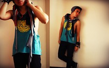 Gino Cruz - Giordano Diy Old Shirt, Sugarfree And Blue Scarf, Baguio Bonnet, Skinny Jeans - Scarf on a Summer Day.. btw follow me on twitter ^^