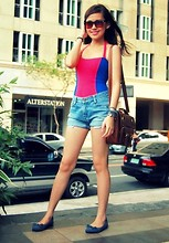Linsey Y. - Love One Piece Swimsuit, Maong Shorts, Old School Satchel, Parisian Blue Suede Flats - Coachelly <3