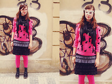 Kristyna Mecnerova - C&A Black Sunglasses, Next Pink Sweater With Rabbits, Promod Black Grey Dress, Present Pink Tights, Dranella Black Punk Scarf, Frontrowshop Black Boots, Handmade Fairy Dust - Pink it's my new obession