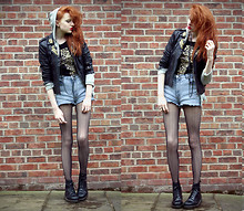 Olivia Emily - Leo Cross Top, Religion Studded Leather Biker, Cow Stonewash Shorts, Boyfriend's Mum Herringbone Fishnets, Boyfriend Hoodie, Docs - When you call my name, it's like a little prayer