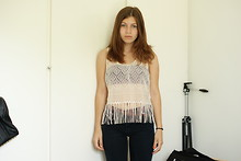 Elinor - Bikbok Fringe Top, Cheap Monday Jeans - Being serious