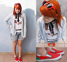 Amanda Scalise - Studded Belt, Bandana Scarf, Watermelon Sneakers Made By Myself, Red Heart Glasses, Denim Boyfriend Shorts, T Shirt, Denim Shirt - Watermelon!