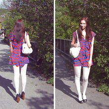 Momoiro K - H&M Romper, Guess? White Bag, Lindex White Tights, Guess? Peep Toe Wooden Heels - 17. mai