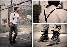 Andrew Gibson - Wal*Mart Beanie, Public Opinion Thermal, Metro Park Suspenders, Comune Pants, Aldo Boots - Hard Day's Night.