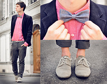James Vyn - Undefined Blazer, Undefined Pink Shirt, Undefined Jeans, Shmoove Shoes, Undefined Grey Bow Tie - PINK SHIRT AND BOW TIE
