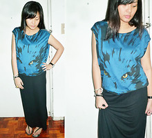 Carrie Rivera - Blue Blouse, Diy Long Black Skirt - I See You