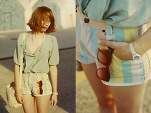 Typhaine - Quicksilver Women Shirt, Vintage Short, Vintage Sunglasses, Childhood One Watch - Mint sun.