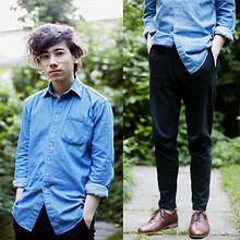 Pascal Grob - Moscot Miltzen, American Apparel Denim Shirt, Acne Studios Sweatpants, Rachel Comey Oxford Shoes - 4501089145