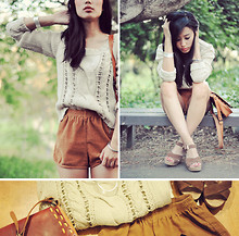 Jenny Ong - American Apparel Corduroy Shorts, Forever 21 Knit, Nine West Leather Sandals - Summer layers