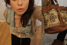 Manon Ray - Hm Pants, A Sweet Italian Store! Indian Bag, Zara Sleeveless Denim Jacket - GERONIMO