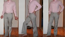 P C - Express Pink Button Down Top, Express Brown & White Striped Pants - Second outfit