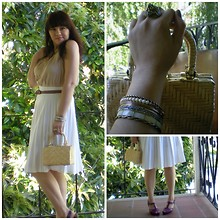 Adiel C - Nude Dress, Jan Michaels Lion Ring, H&M Brown Belt, Vintage Basket Bag, Vintage White Pleated Skirt, Old Navy Purple Strappy Wedge Sandals - Rapture