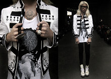 Andre Judd - Protacio Band Jacket, Resin Ring With Crystals, Space Ring, White Booties With Studs, Square Frames, Greater Good Vneck Tee With Philippine Eagle Print - MILITIA BOUND
