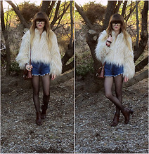 Claire Mcmanus - New Look Shaggy Faux Fur Jacket, Wild Hearts Vintage Denim Cut Off's, Thrifted Brown Boots, Thrifted Bag - Ragged Wood