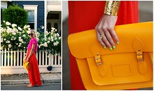 Taylor Sterling - The Cambridge Satchel Company Muctard, Forever 21 Gold Cuff, Pink Cropped Top, Maxi Skirt - Color Block