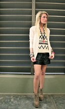 Casey Russell - Gar De Cropped Sweater, Wilfred Silk Button Down, 3.1 Phillip Lim Leather Shorts, Jeffrey Campbell Litas - Tribal Gear