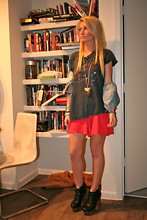 Casey Russell - Vintage The Who Tee, Neiman Marcus Denim Vest, Urban Outfitters Red Shorts, Jeffrey Campbell Solvang Clogs, Mom Made Shark Tooth Necklace - Shark Tooth