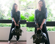 Yohani Bee - New Look Loose Top, Balenciaga Anthracite Partime - Studs and Cross