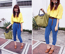 Bea Benedicto - Avenue Top Multi Colored Feather Earrings, Polo Yellow, Mom's Closet Blue Trousers, Vintage Brown Leather Belt, Cmg Brown Leather Clogs, Longchamp Olive Green Bag - Going Tropical