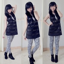 Nathania Hulu - Headband, Leopard Tie, Tank Top, Legging, Ankle Boots - Leopard