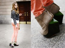 Jessica Mercedes Kirschner - Finsk Wedges, New Yorker Biker Jacket, H&M Skinny Jeans - PARTY ROCK
