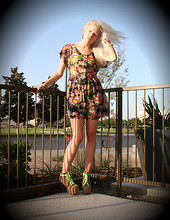 Margaret Shaw - Forever 21 Floral Mini Dress, Jeffrey Campbell Lita Boots, Neon Shoelaces - Fun with Florals