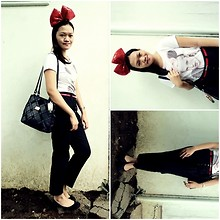 Chantal Jane - Love Graphic Tee, Bazaar Trousers, Marc Chantal Vintage Satchel, Zara Flats - The Inner Child
