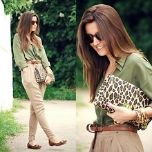Alexandra Per - Queens Wardrobe Shirt, H&M Clutch, Blanco Baggy Pants, Uterqüe Loafers, Persol Sunglasses - Green olive