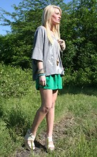 Casey Russell - Discovery Channel Store Shark Jaw Top, Seneca Rising Green Shorts, Vera Wang Platforms - Walking in Wangs